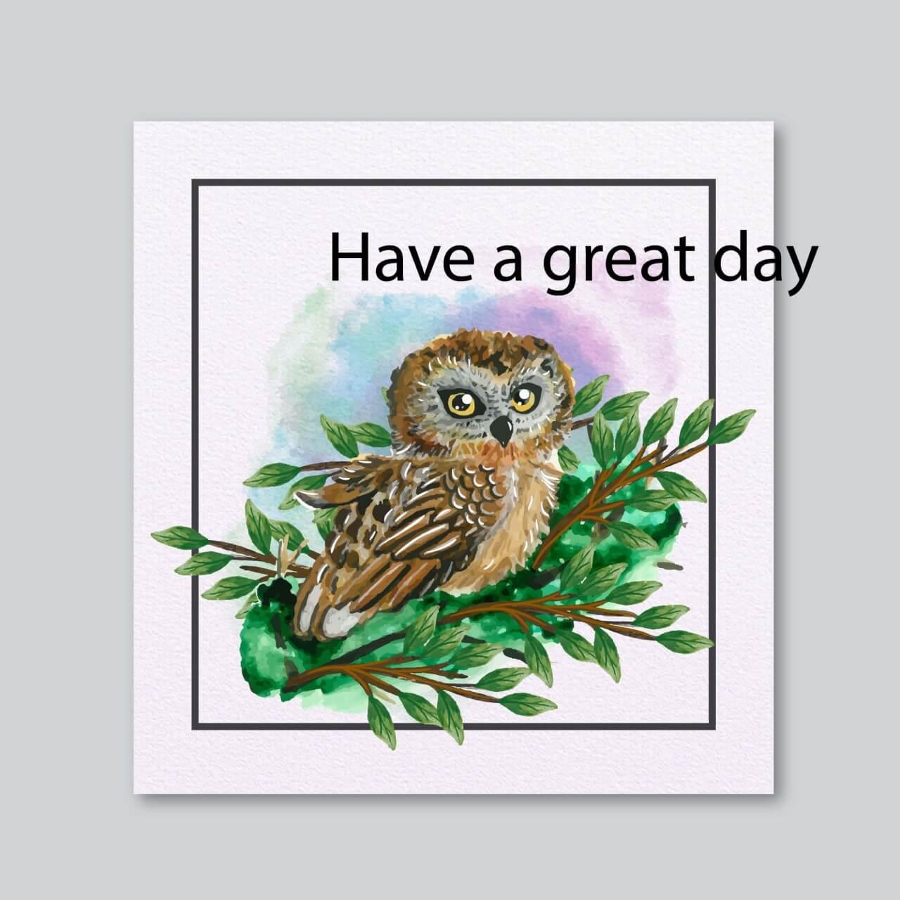 "Free vector ""Watercolor owl card"""