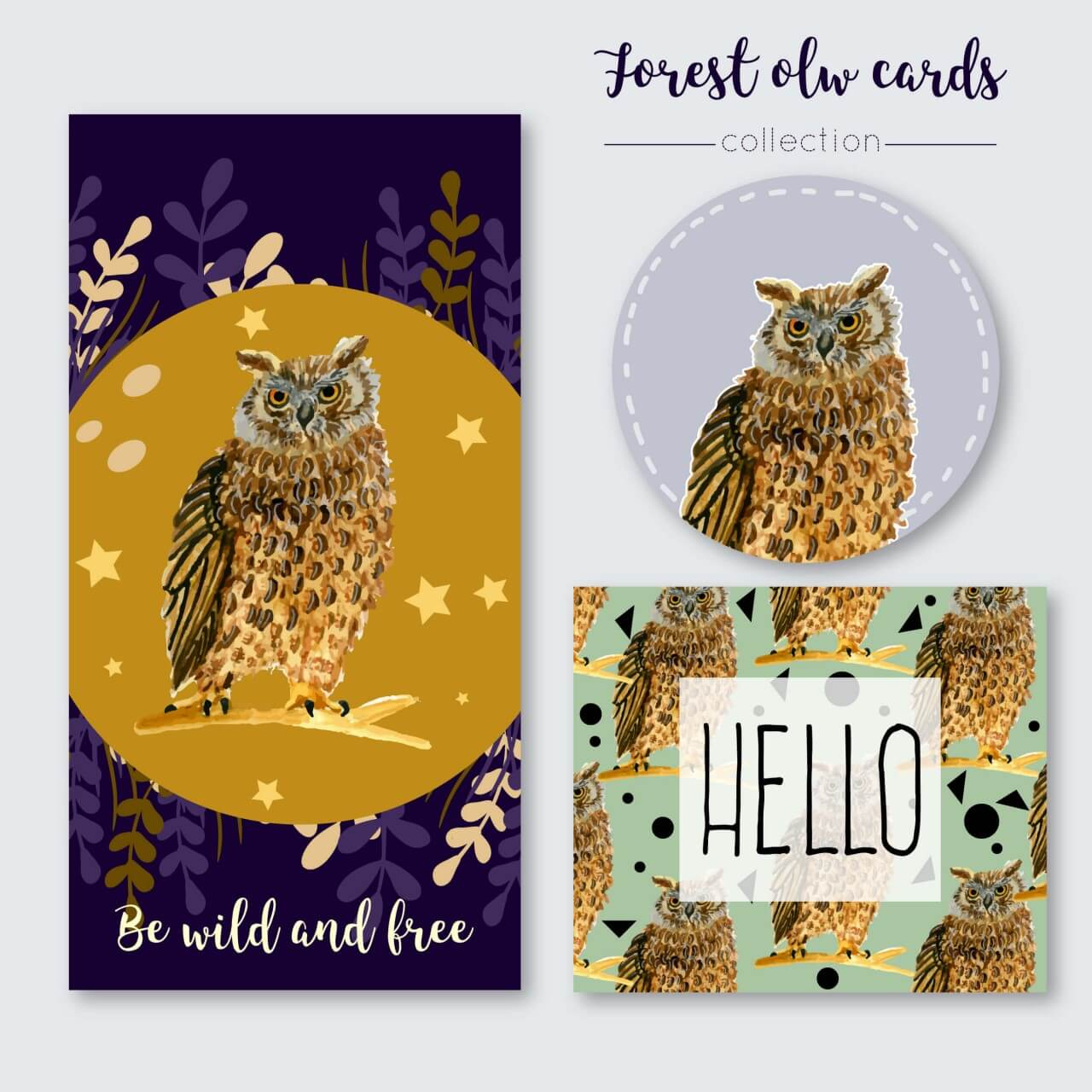 "Free vector ""Owl summer cards"""
