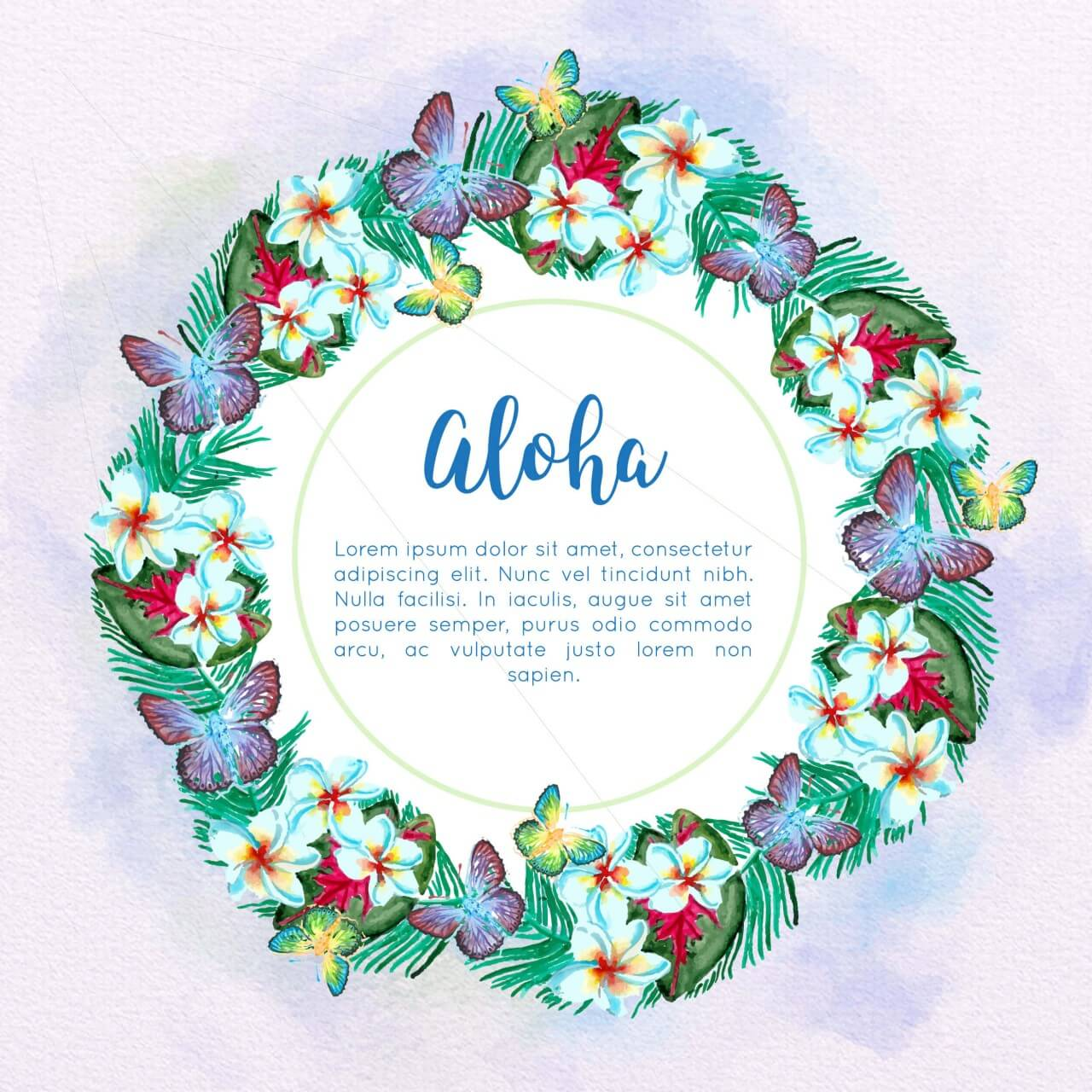 "Free vector ""Watercolor tropical frame"""