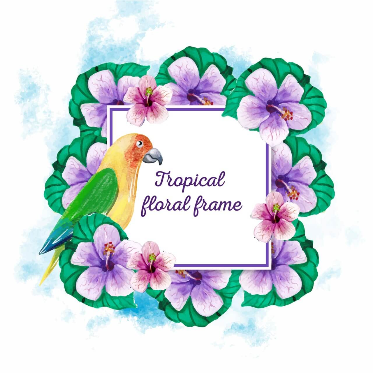 """Free vector """"Watercolor tropical frame"""""""