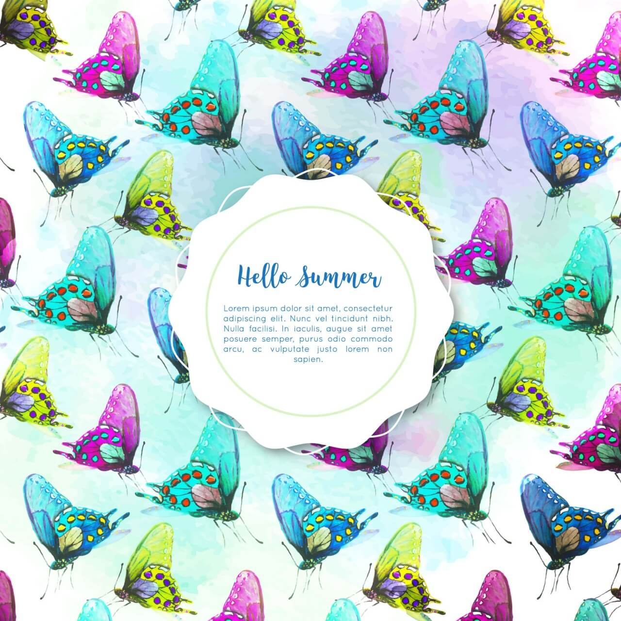 """Free vector """"Watercolor butterfly background"""""""