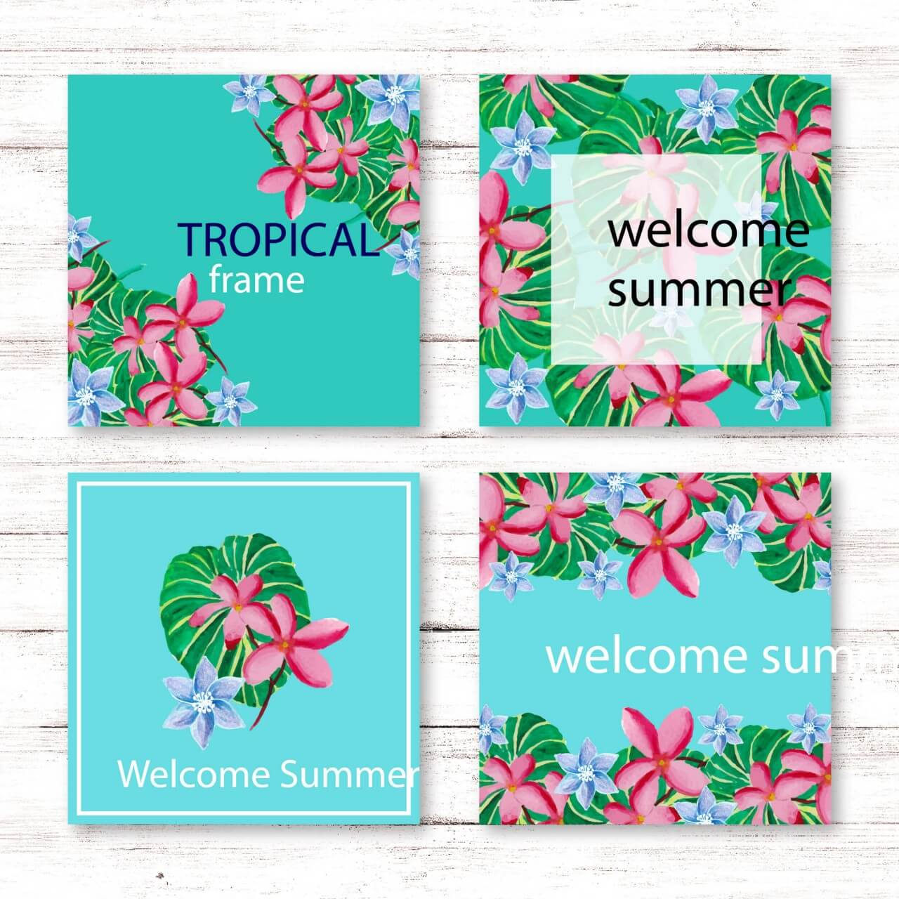 "Free vector ""Tropical summer card collection"""