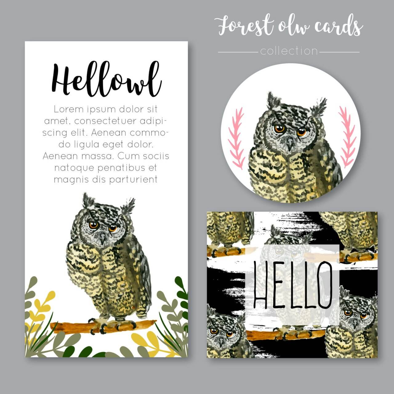 """Free vector """"Watercolor owl collection or cards"""""""