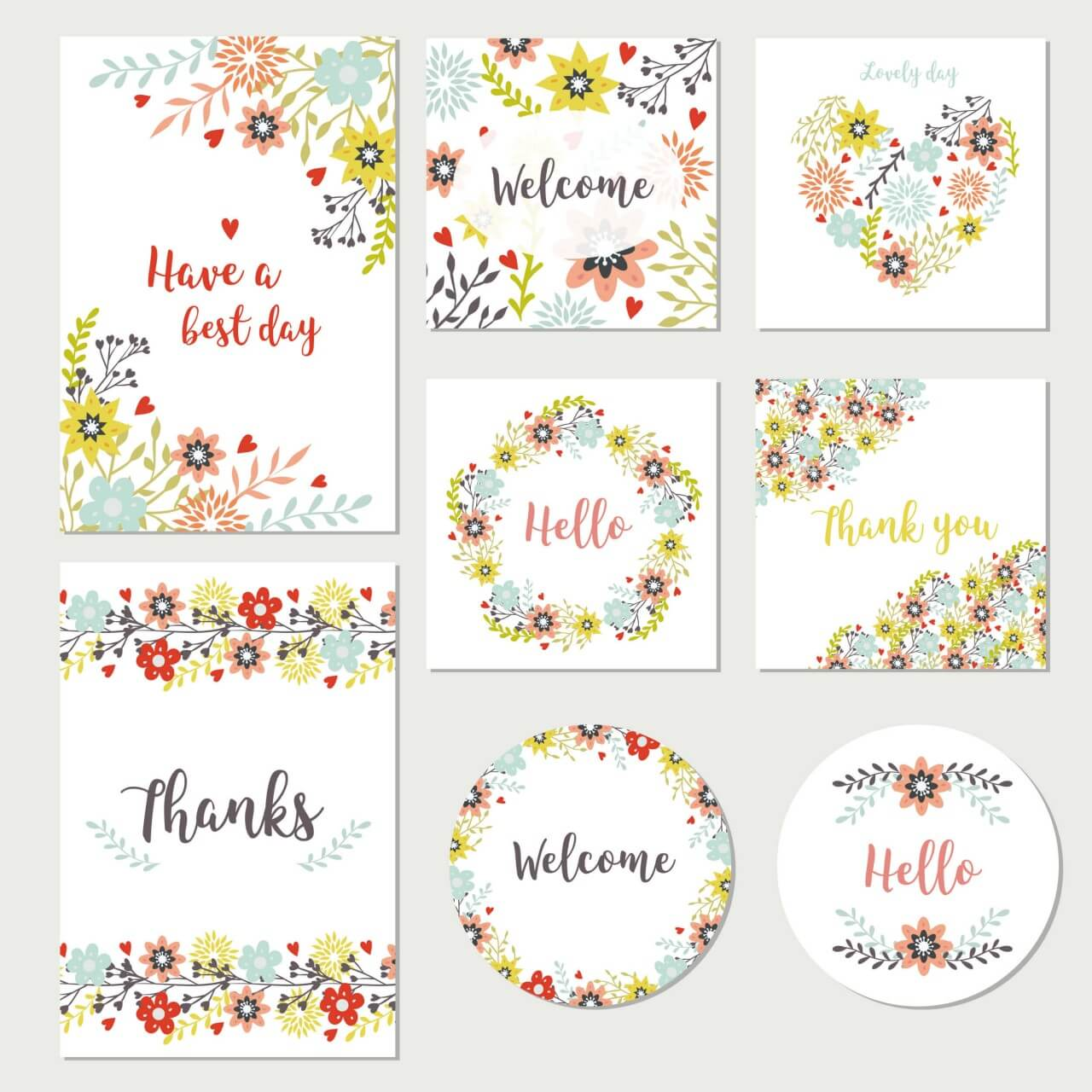 "Free vector ""Floral collection of cards"""