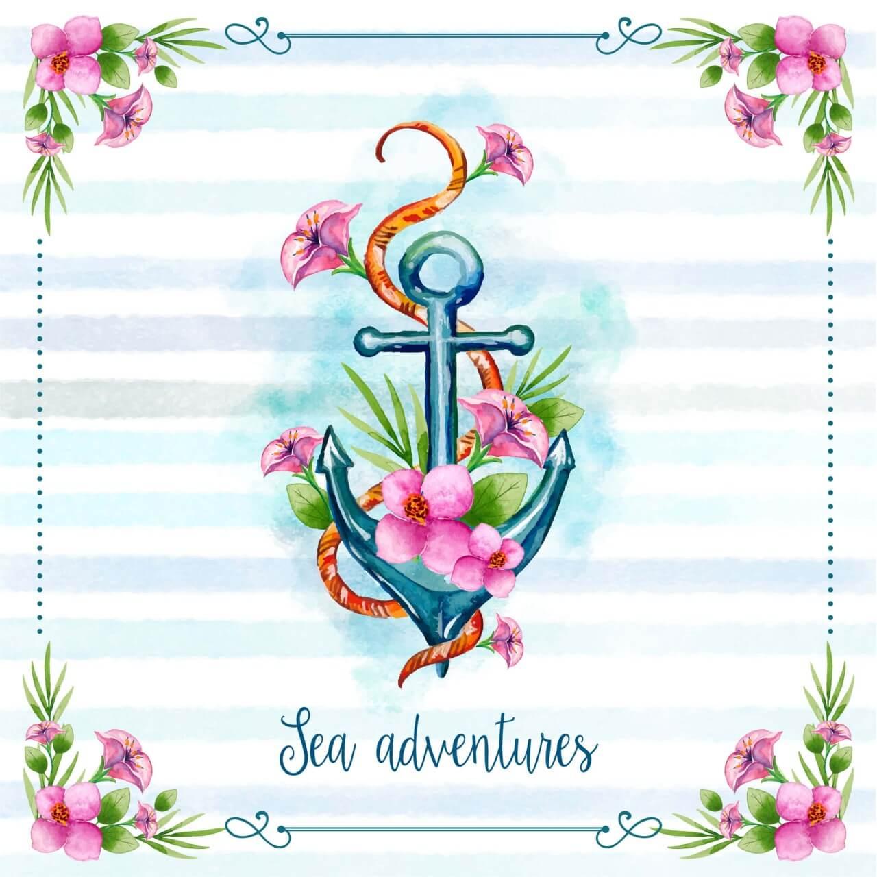 "Free vector ""Nautical theme floral card"""