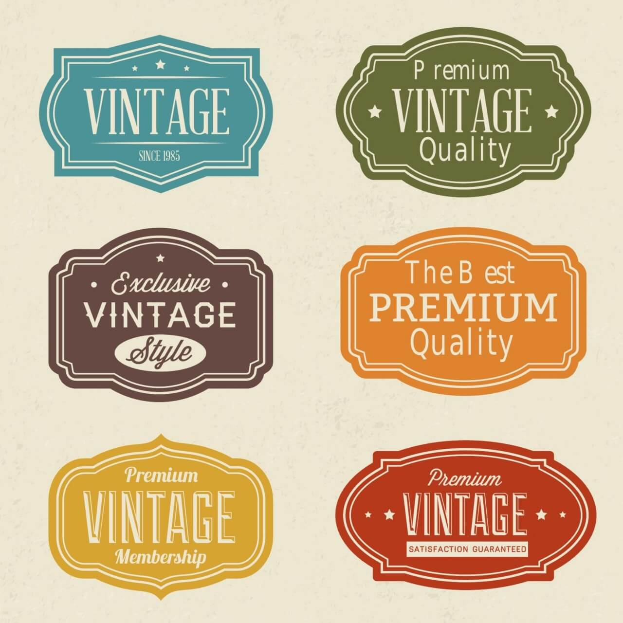 "Free vector ""Vintage labels set"""