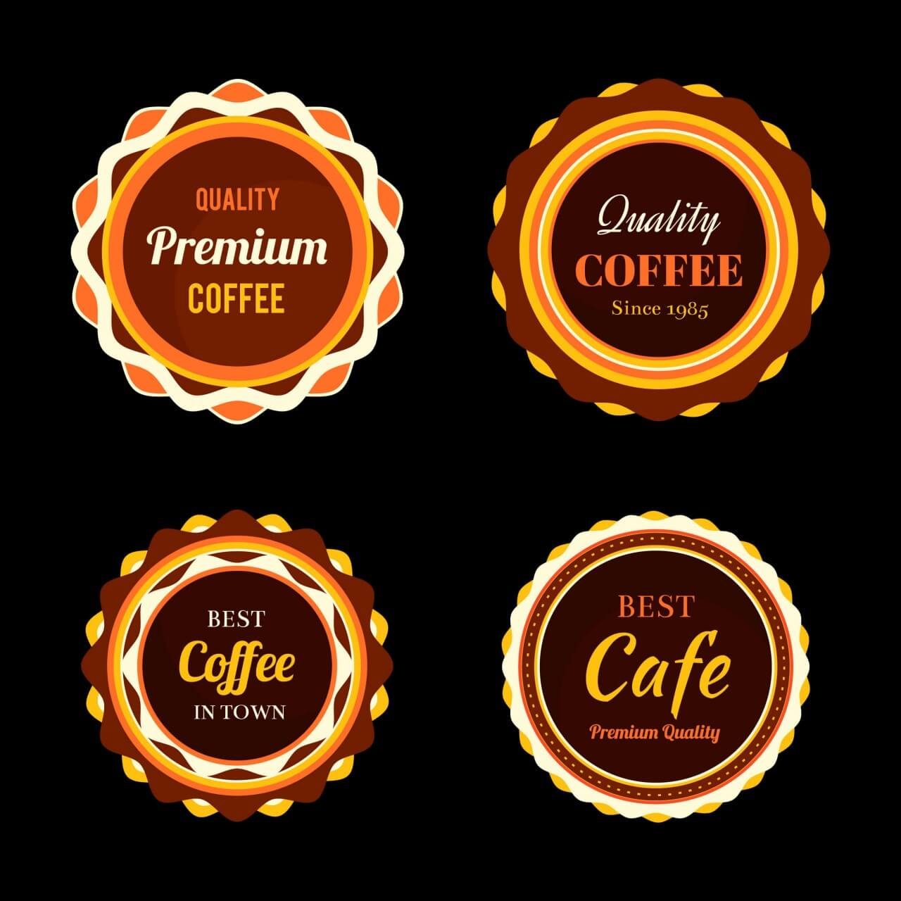 "Free vector ""Set of coffee retro vintage badges and labels"""