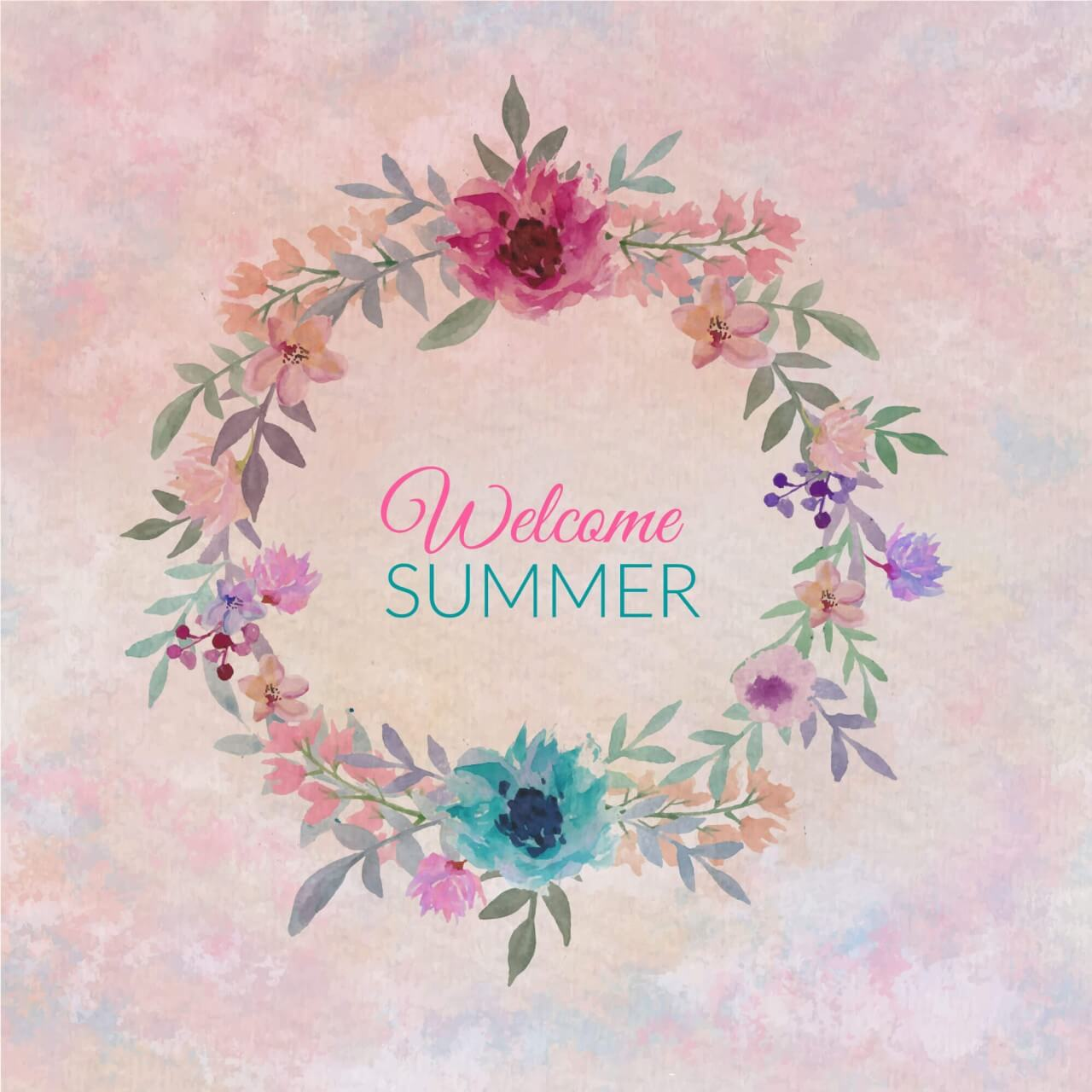 """Free vector """"Watercolor colorful circular floral wreaths with summer flowers"""""""