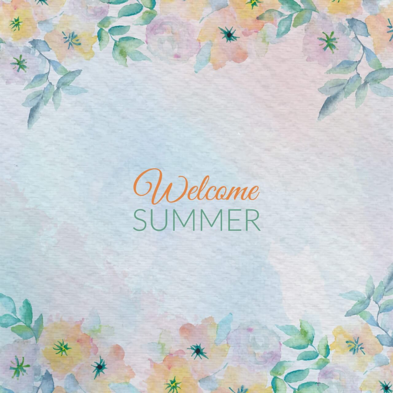 "Free vector ""Watercolor summer greeting card flowers. Watercolor greeting card flowers. """
