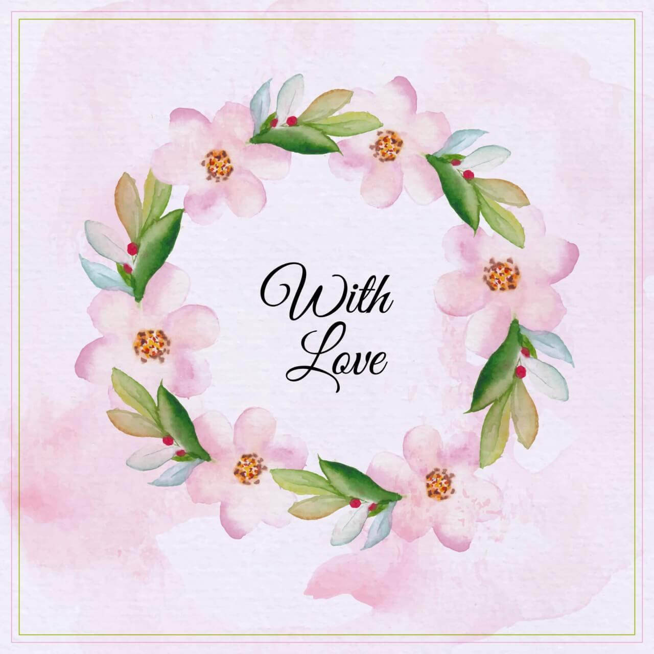 "Free vector ""Watercolor floral greeting card. Watercolor flowers frame"""