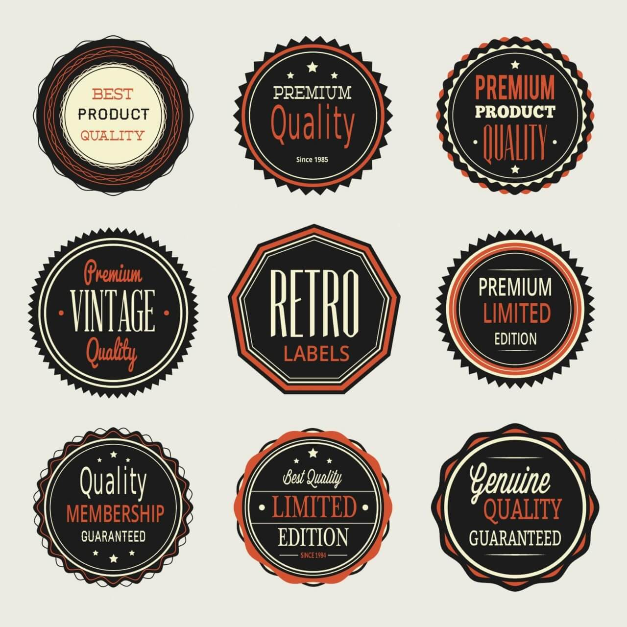"Free vector ""Vintage labels, badges set"""