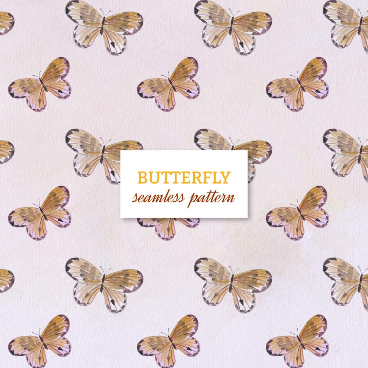 """Free vector """"Watercolor seamless pattern with butterflies"""""""