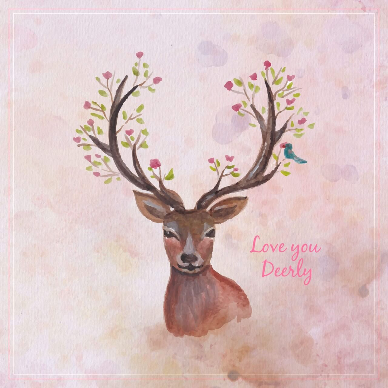 "Free vector ""Watercolor reindreer with big antlers, spring flowers on the horns, branches, cherry blossom"""