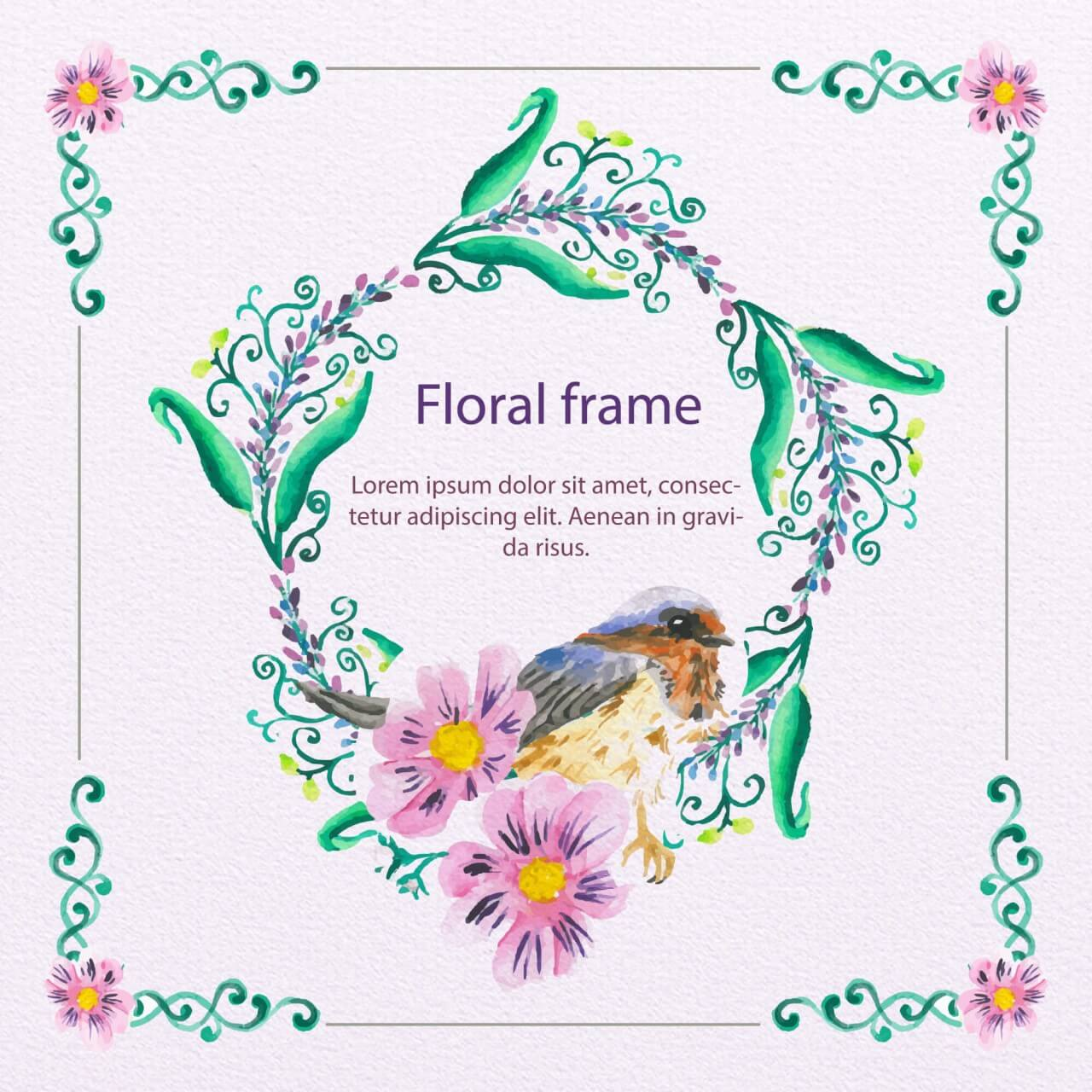 """Free vector """"Watercolor Floral Frame With Bird"""""""