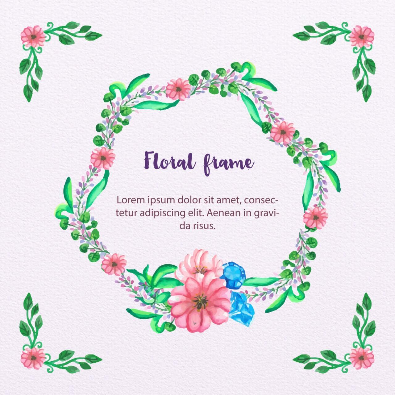 "Free vector ""Watercolor Floral Frame"""
