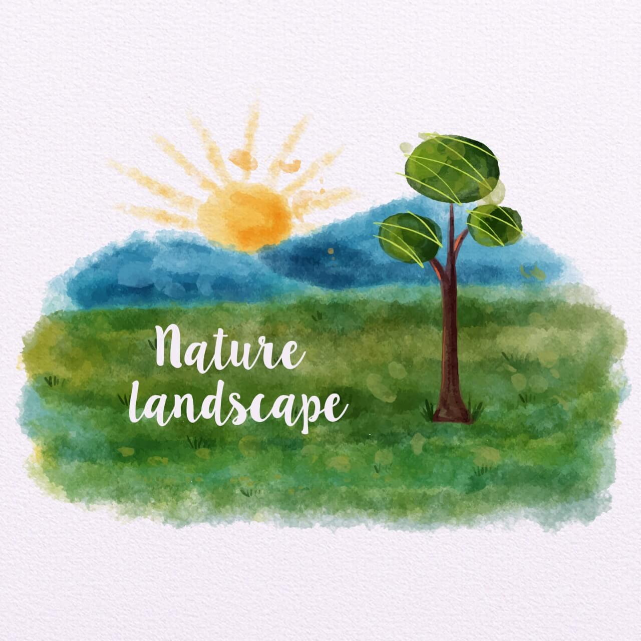 "Free vector ""Nature Landscape With Mountains"""