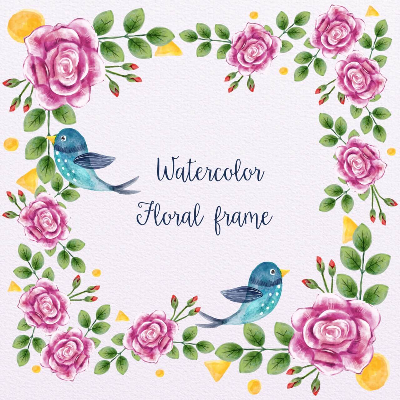 """Free vector """"Watercolor Floral Frame With Birds"""""""