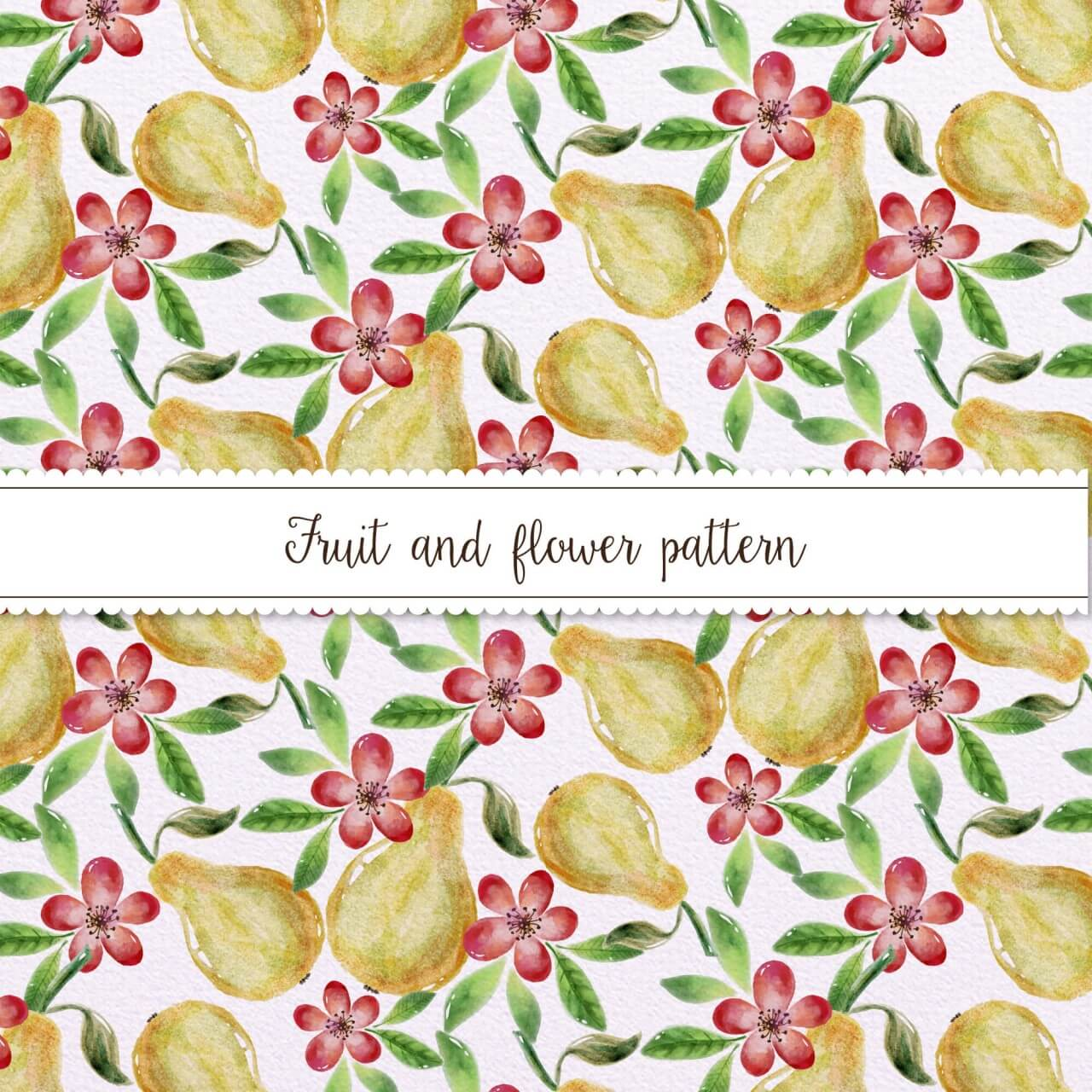 "Free vector ""Watercolor Pattern With Pears and Flowers"""