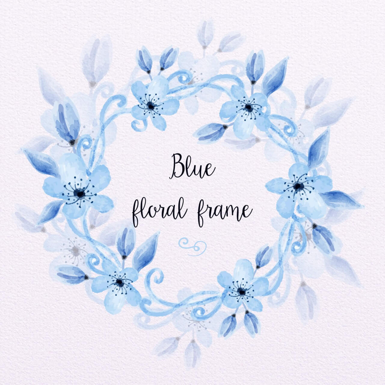 "Free vector ""Blue Watercolor Floral Frame"""