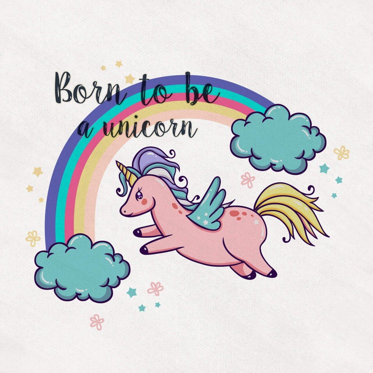 "Free vector ""Cute Magical Unicorn With Rainbow"""