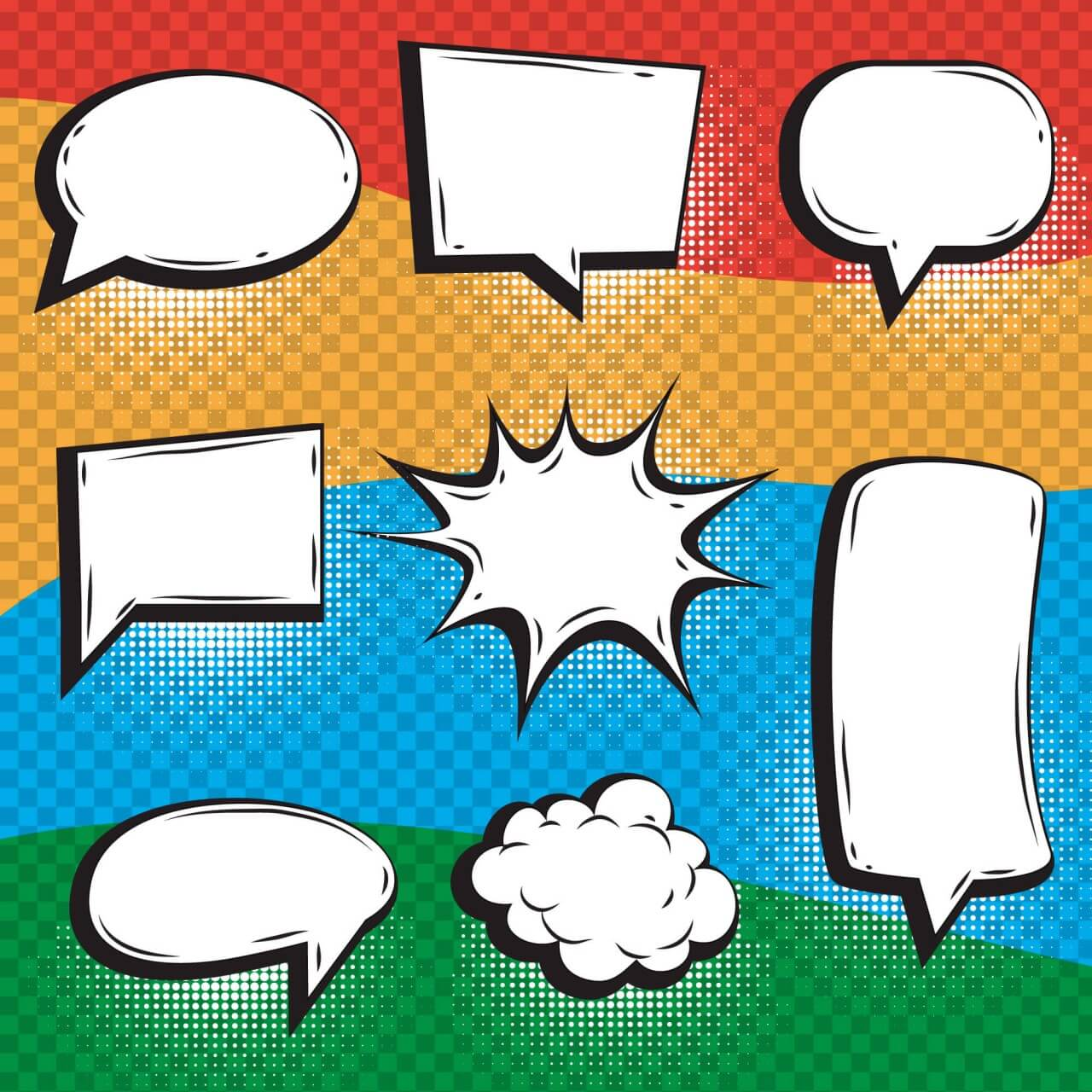"Free vector ""Bright Comic Book Elements With Speech Bubbles """