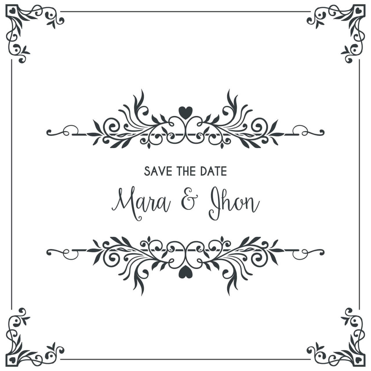 "Free vector ""Wedding card invitation with frame"""