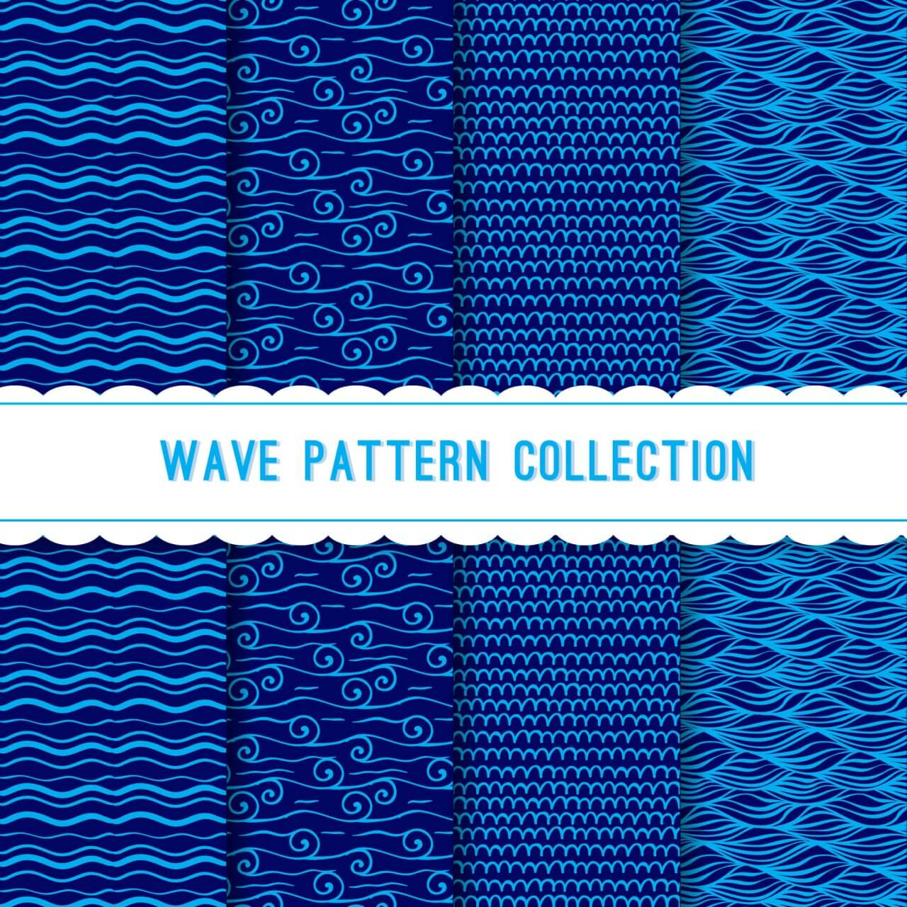 "Free vector ""Blue wave pattern collection"""