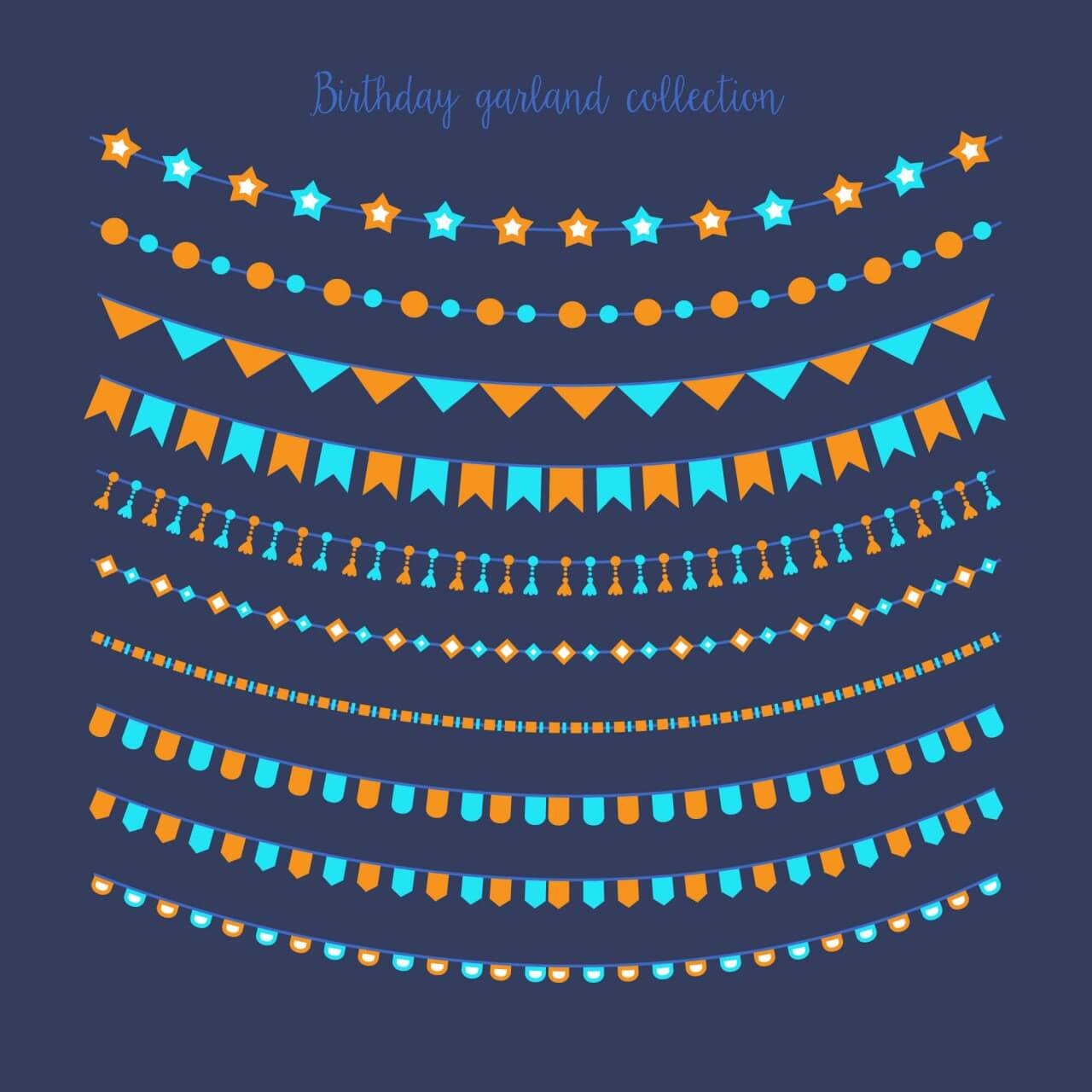 "Free vector ""Birthday garland collection"""