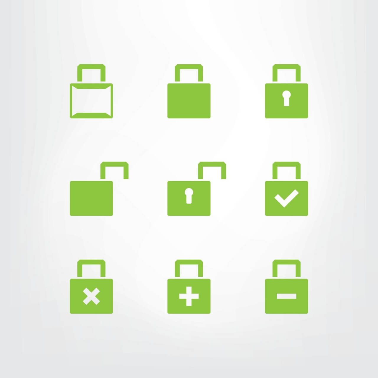 "Free vector ""Set of green lock icons"""