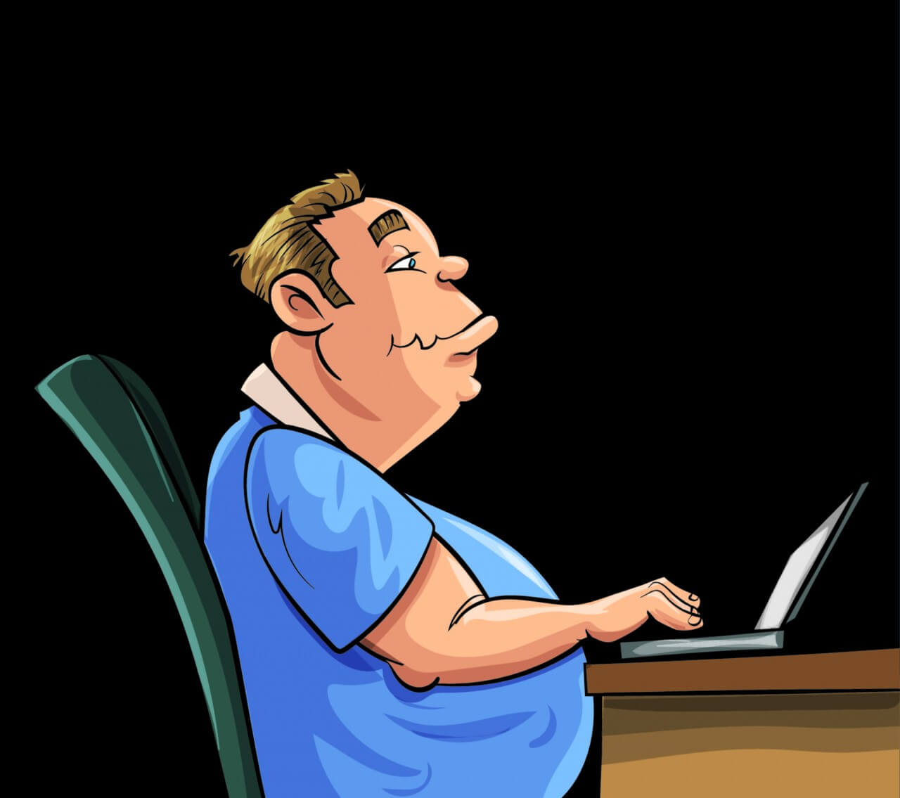 "Free vector ""Fat man working on laptop"""