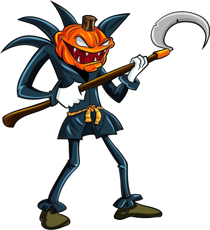 """Free vector """"Angry pumpkin man"""""""