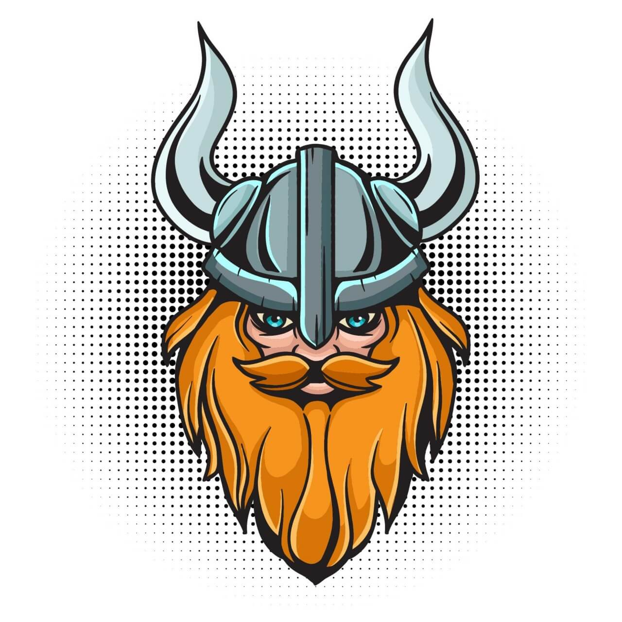 "Free vector ""Cartoon viking head with helmet"""
