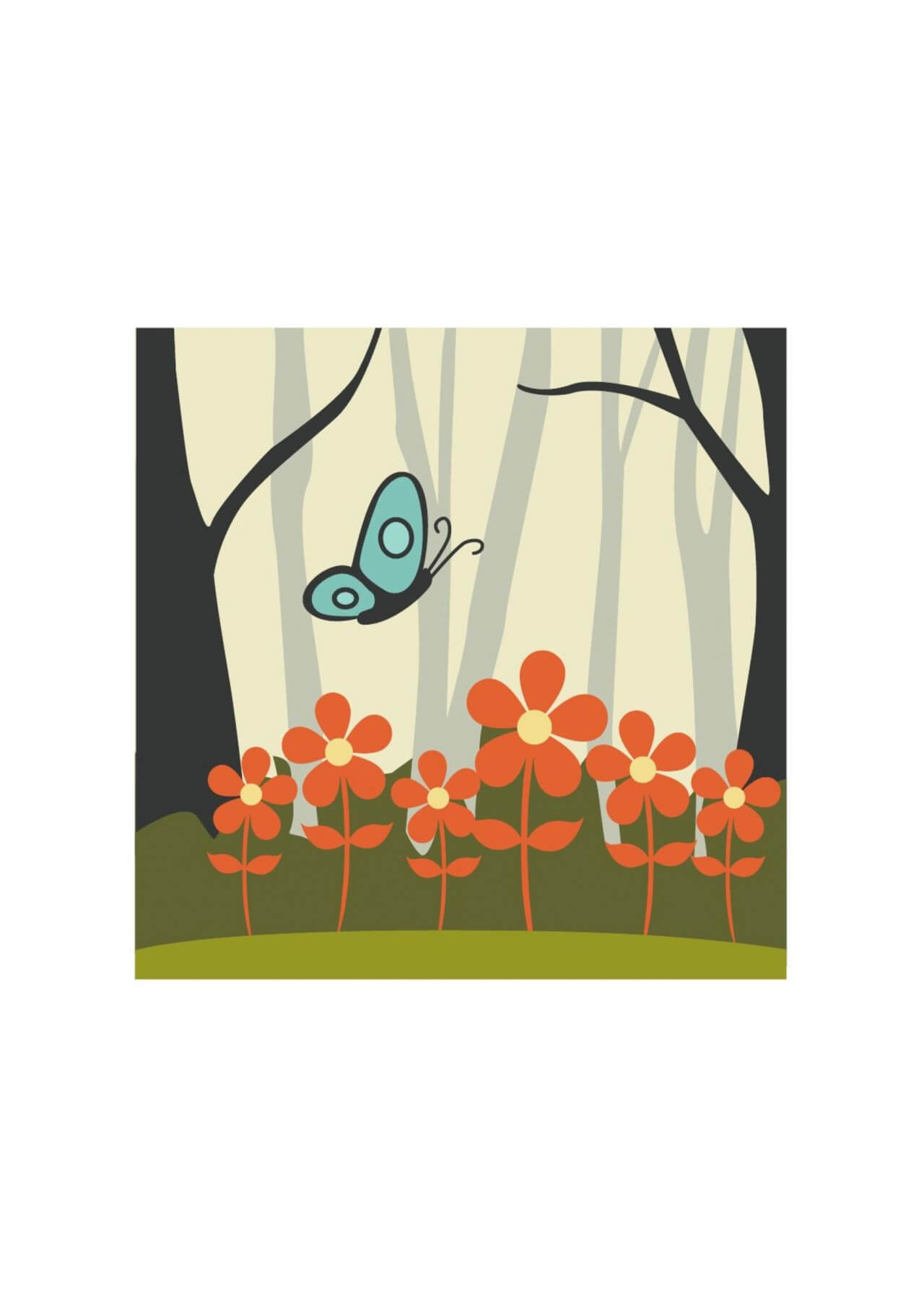 "Free vector ""Butterfly flying over red flowers"""