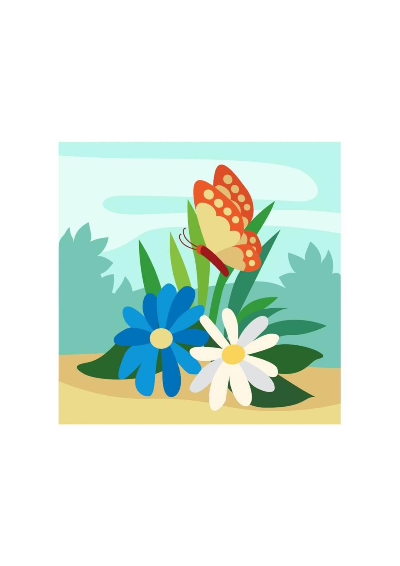 "Free vector ""Colorful Butterfly lingering over Flowers"""