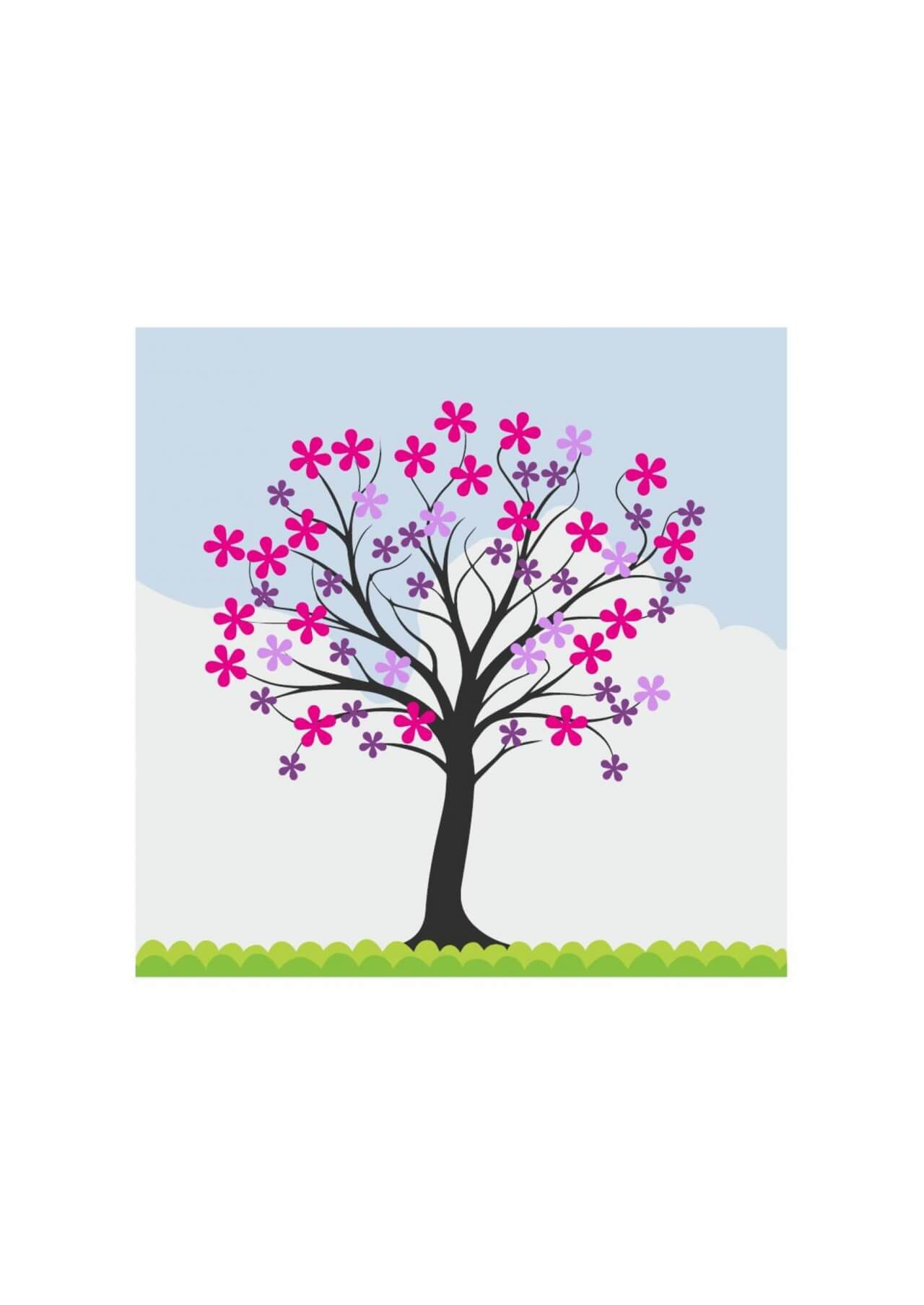 """Free vector """"Flowering spring tree"""""""