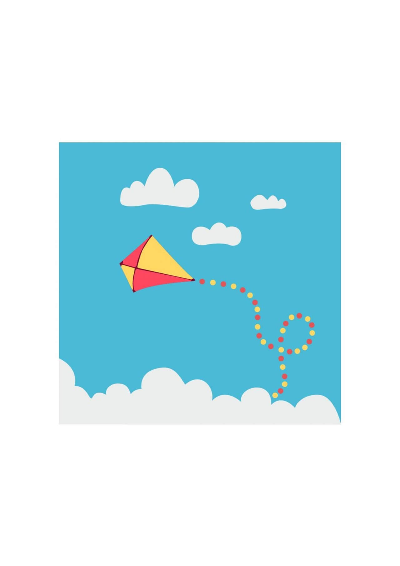 "Free vector ""Children kite flying above the clouds"""