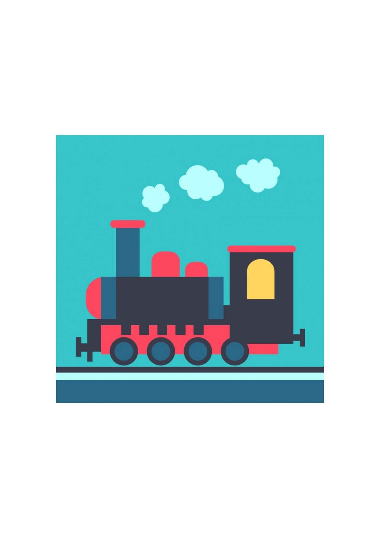 "Free vector ""Steam locomotive on rails"""