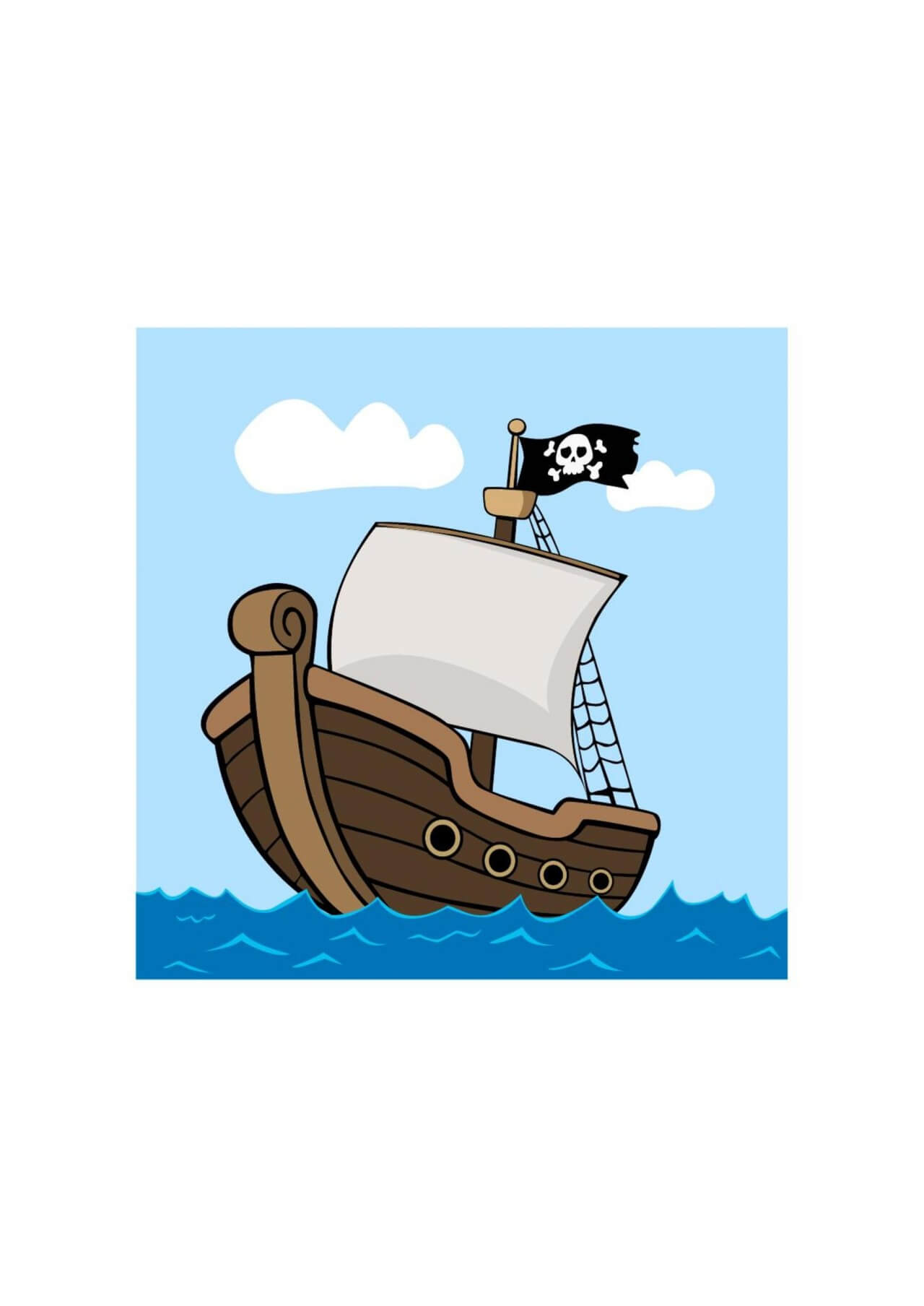 "Free vector ""Pirate ship on sea"""