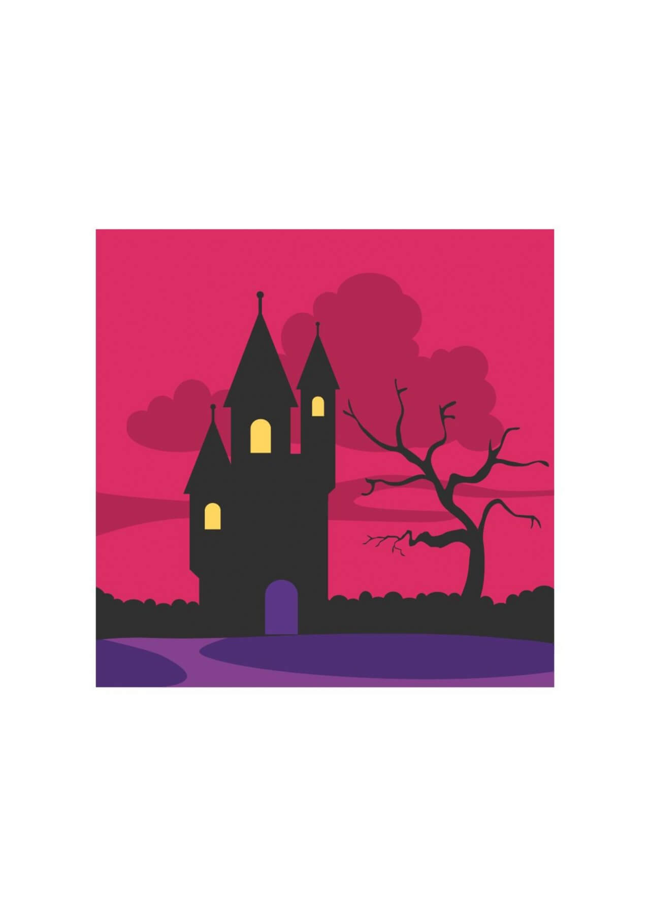 "Free vector ""Creepy castle at the dawn"""