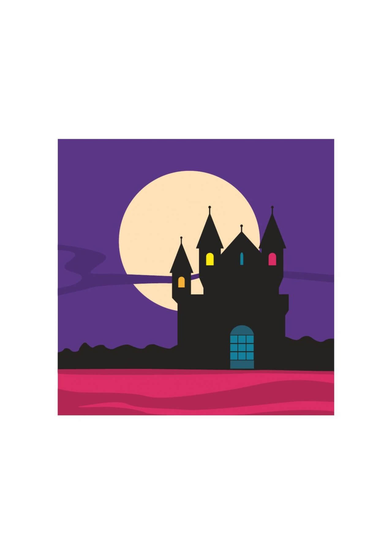 "Free vector ""Mysterious castle silhouette with moon in the background"""