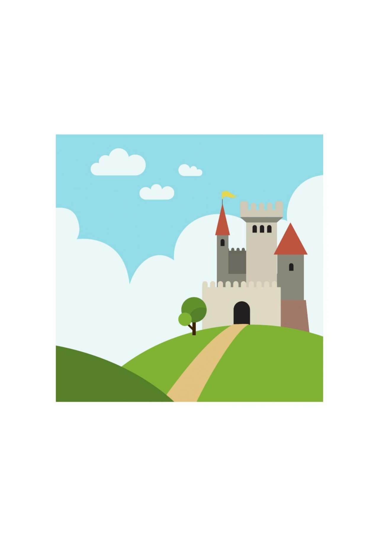 """Free vector """"Castle on the hill with pathway"""""""