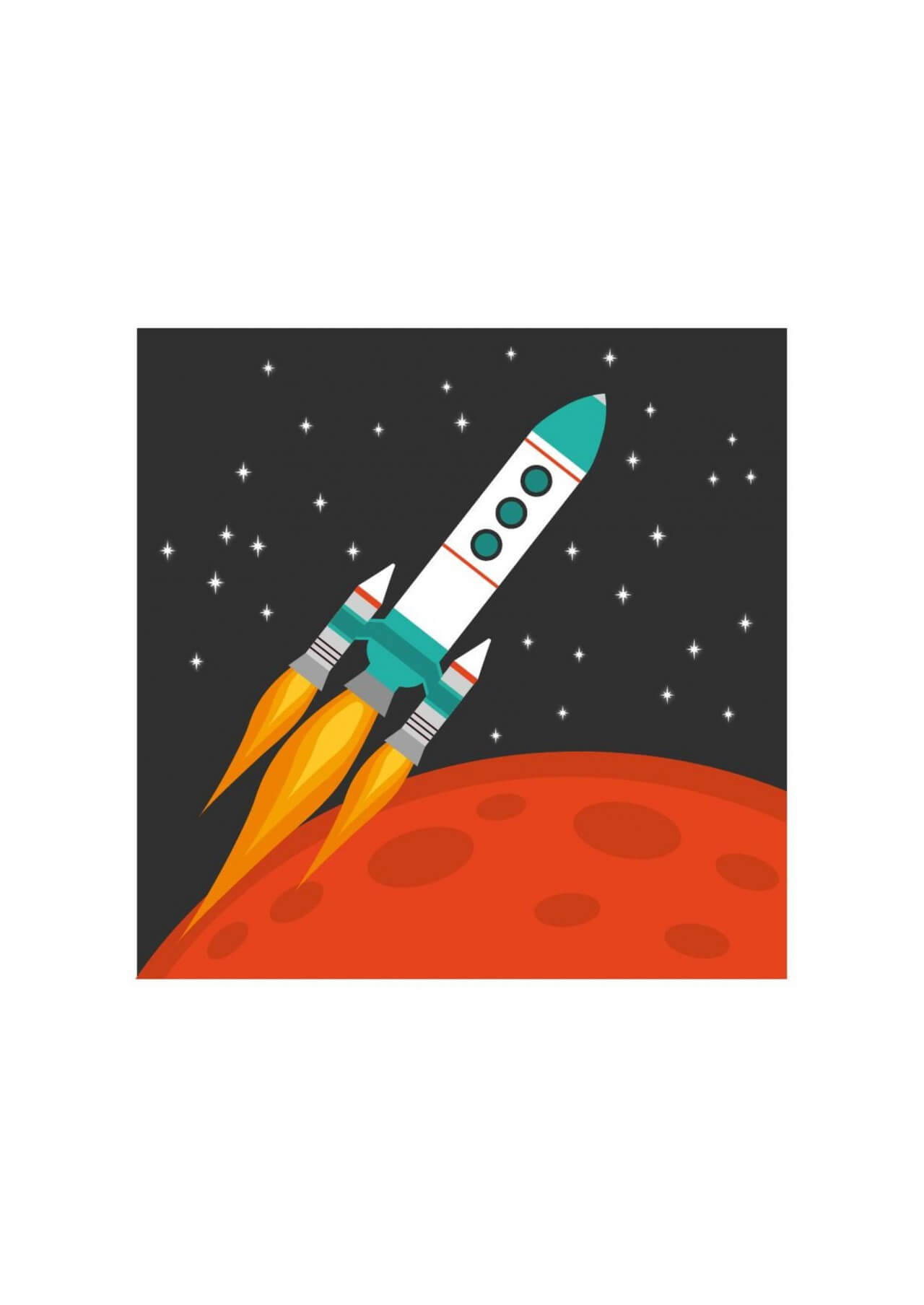 "Free vector ""Rocket flying in space with red planet and stars on background"""