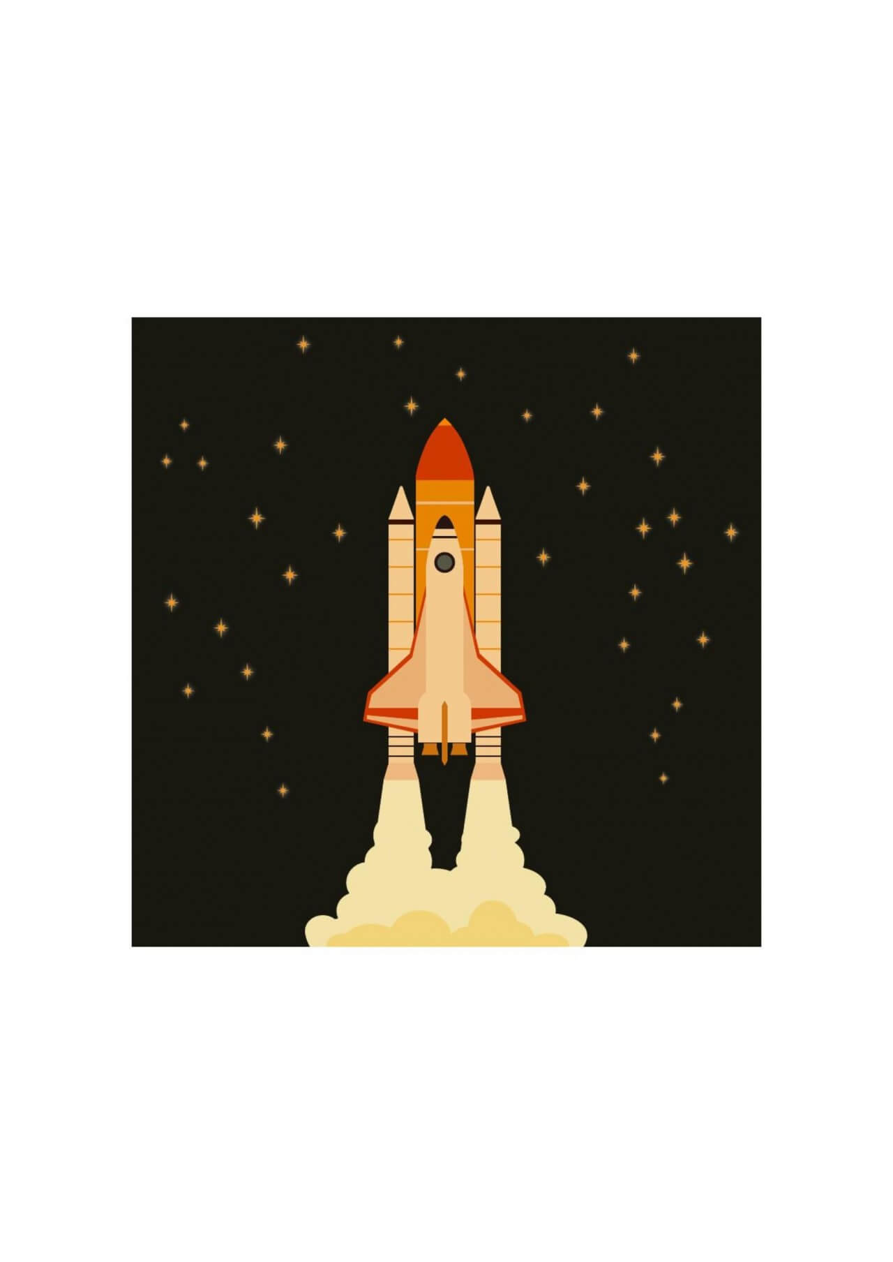 """Free vector """"Space shuttle flying in space with stars on background """""""