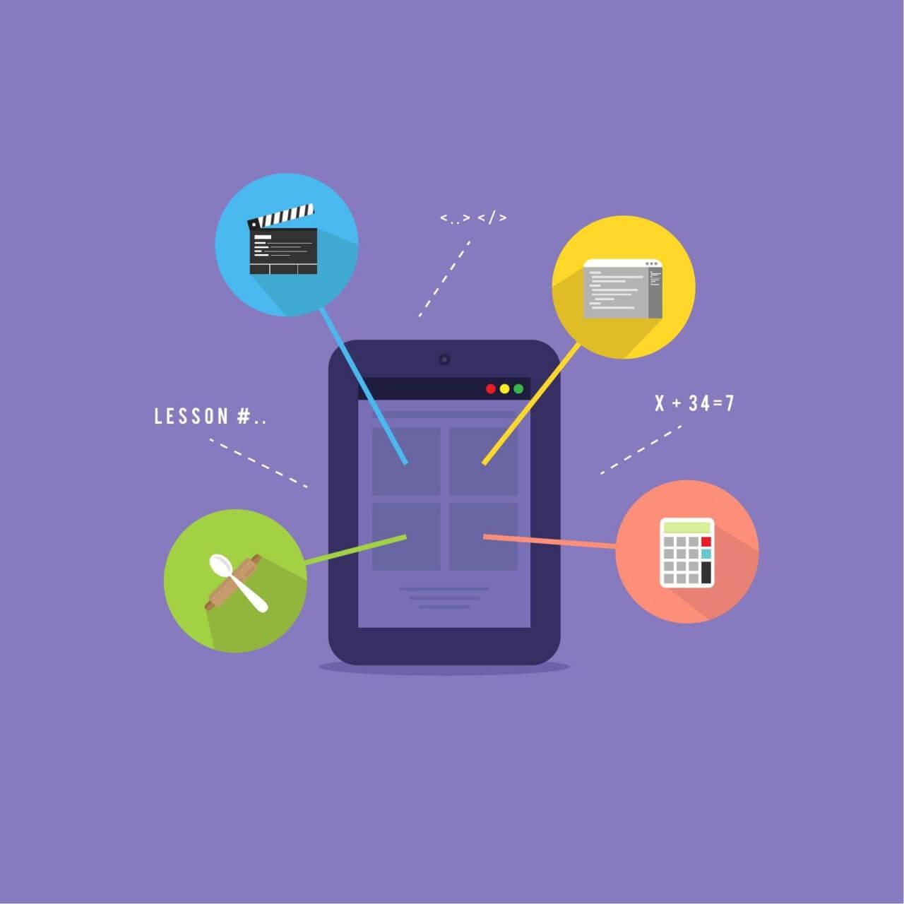 "Free vector ""E-learning platform illustration"""