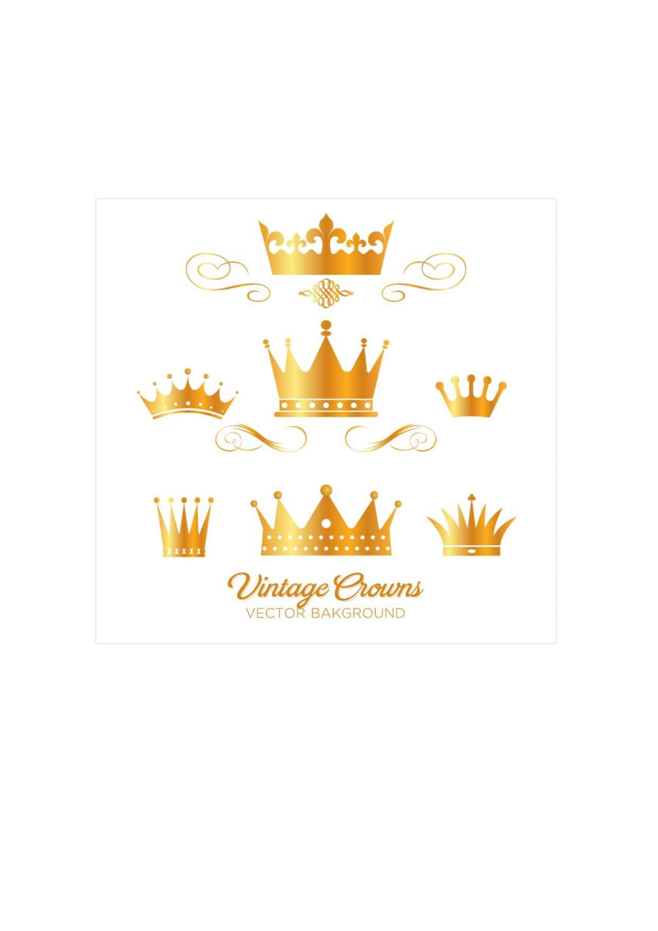 """Free vector """"Set of gold king crowns"""""""