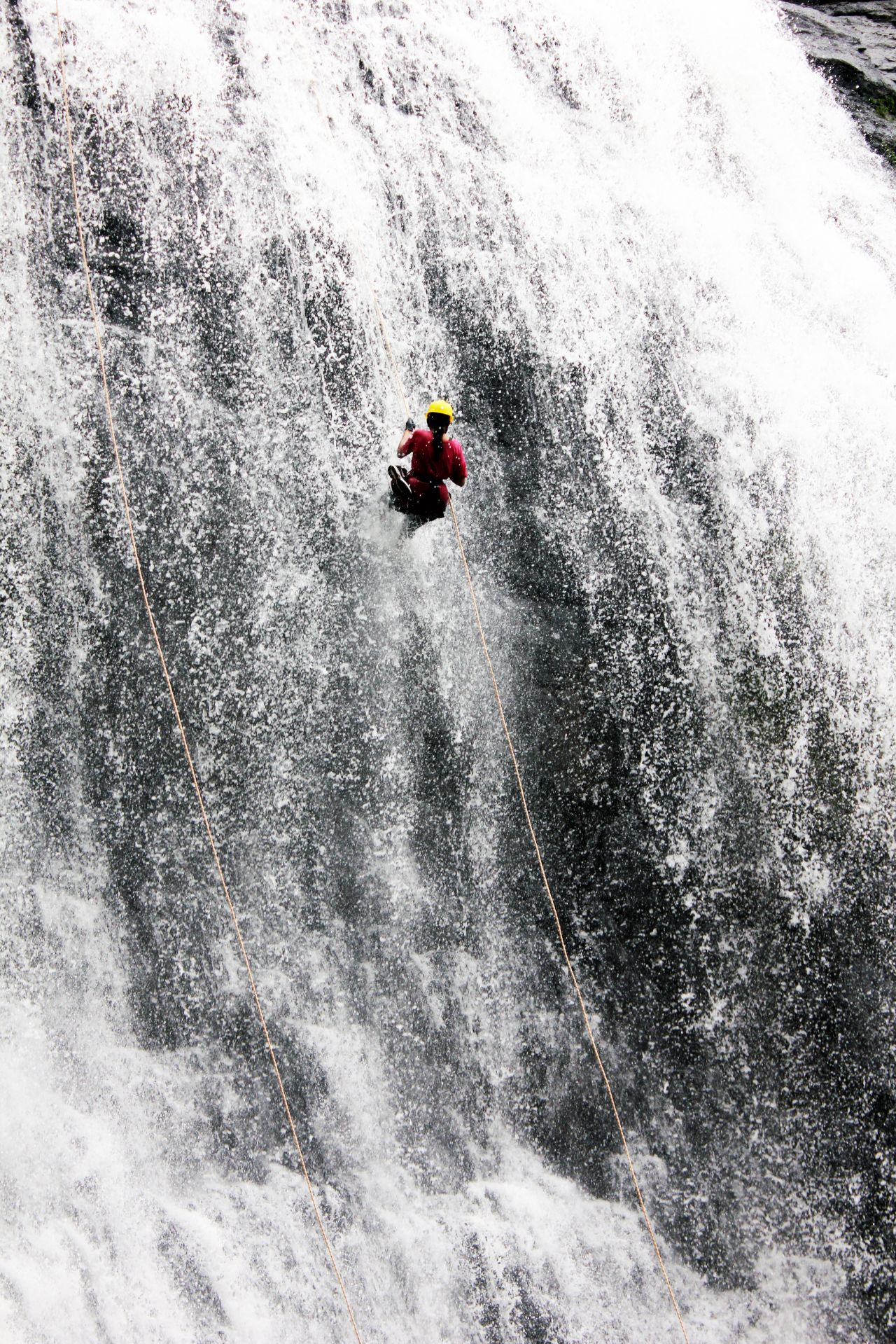 "Free photo ""Waterfall Man Climbing Rappelling"""