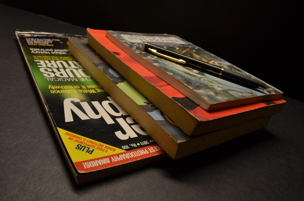 "Free photo ""Magazines Books Pen Pile"""