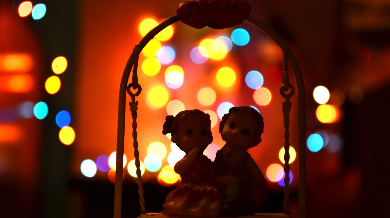 "Free photo ""Couple On Swing Bokeh"""