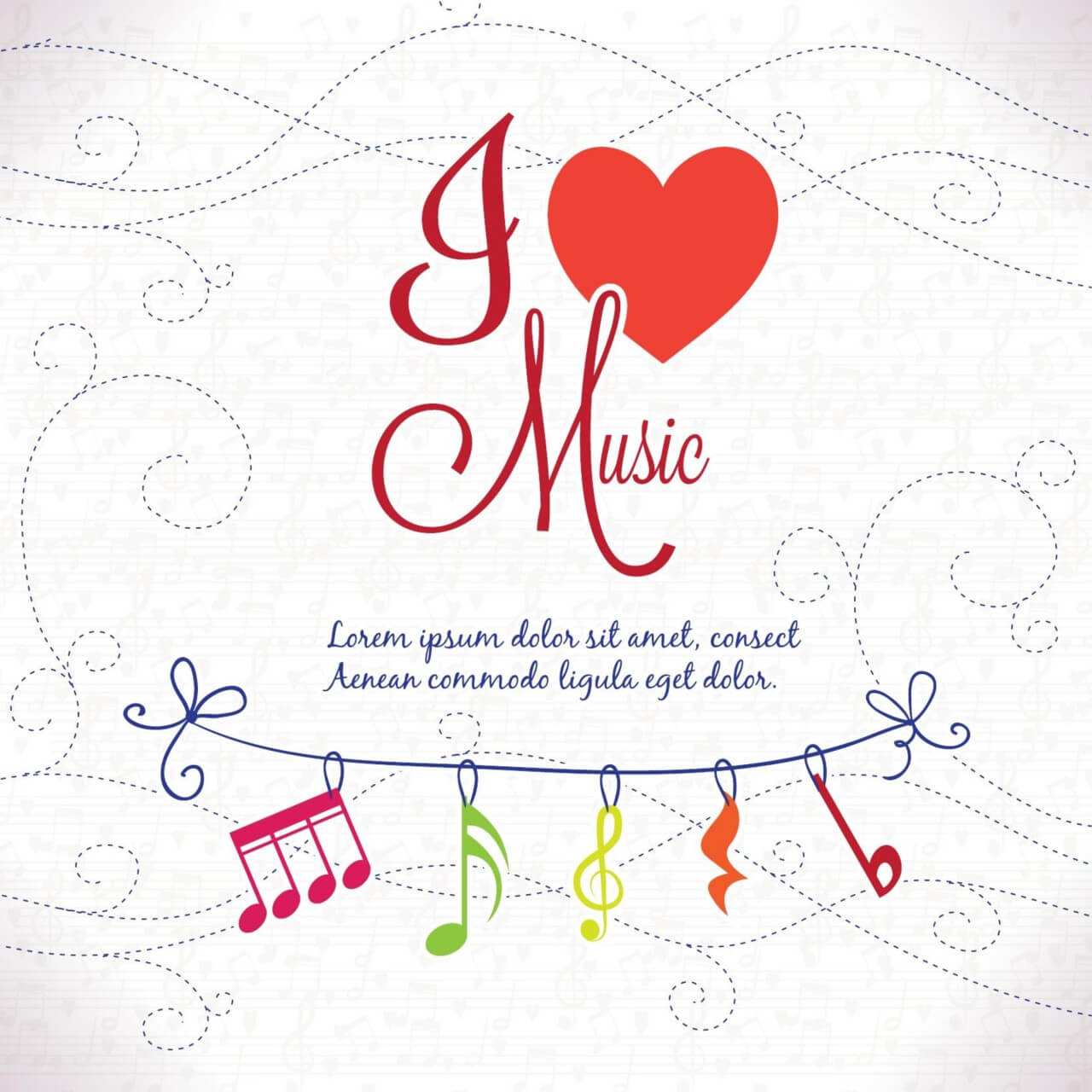 "Free vector ""I Love Music Background"""