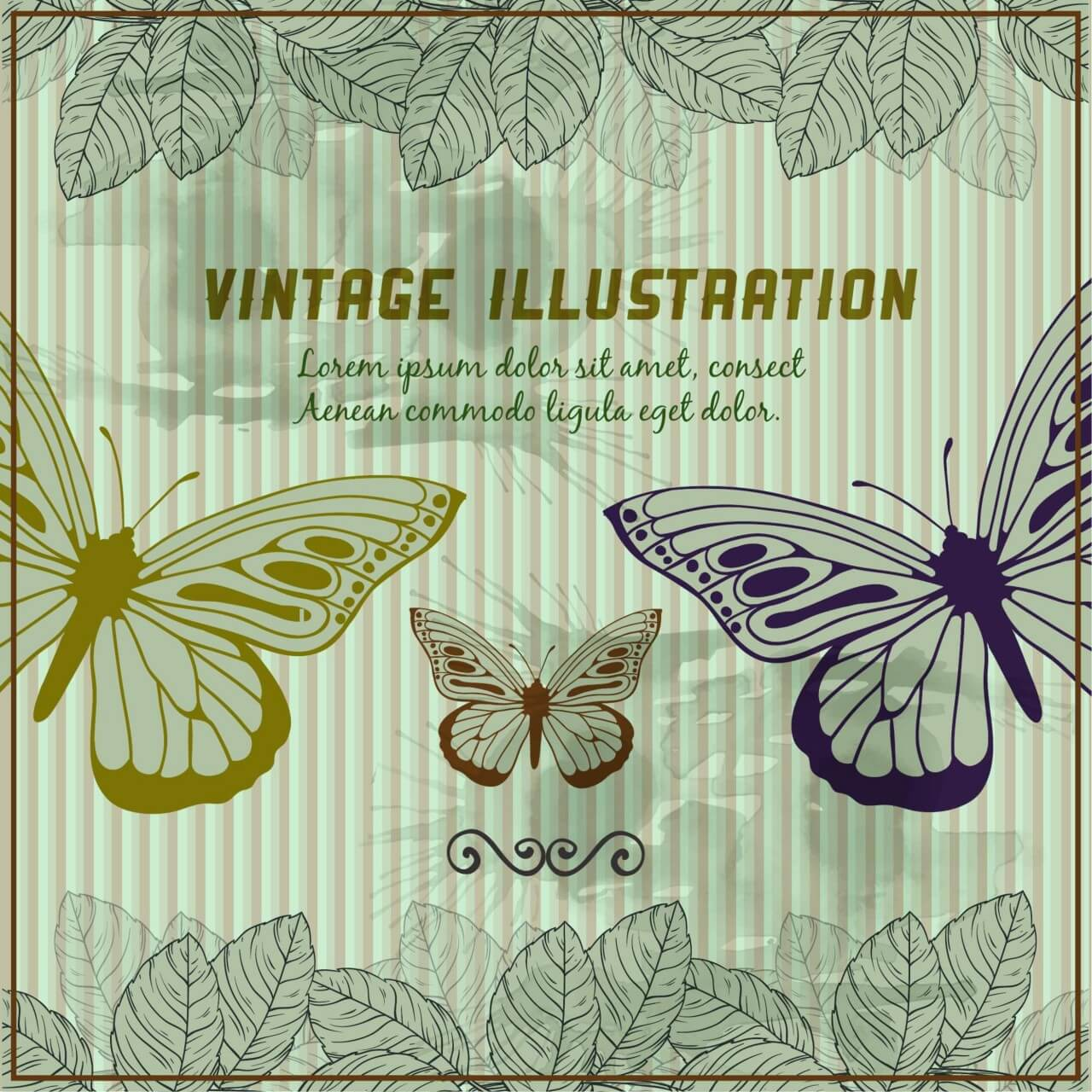 "Free vector ""Vintage background with butterflies"""